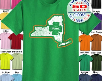 New York Home State Irish Shamrock  T-Shirt - Adult Unisex - We carry sizes S - 5XL in 30 Colors!