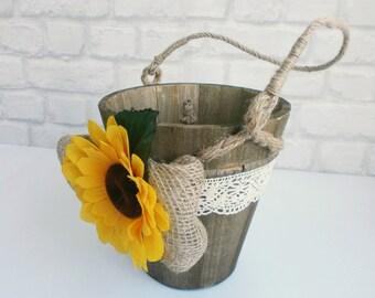 Flower girl basket Rustic Flower Girl Basket Sunflower Wedding Basket Country Wedding Flower girl Pale Rustic wooden basket