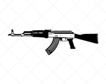 ak47 etsy rh etsy com AK-47 Silhouette Pistol Clip Art