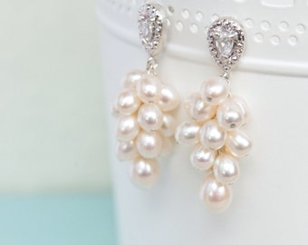 Pearl Bridal Earrings, Wedding Earrings, Statement Pearl Earrings, Wedding Jewelry