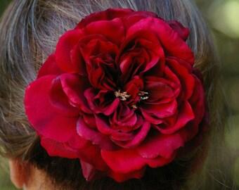 Sophia Red Open Rose Hair Clip