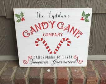 """Personalized """"Candy Cane Company, hand rolled"""" Christmas sign, hand painted"""