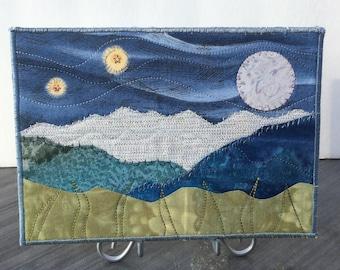 Landscape Art - Big Moon - Girlfriend Gift - Quilted Postcard - Fiber Art - Romantic Night - Mountain Art - Home Decor - Nature Quilt