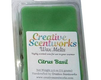 LAST CHANCE Citrus Basil Scented Wax Melt, Wax Cubes, Wax Tart, Wickless Candle, Melting Wax, Wax Melt, Scent Bar, Scent Cube, Wax Bar