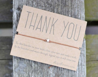 Wish Bracelet, Thank You Wish Bracelet, Thank You Gift, Make a Wish Bracelet and Gift Card.