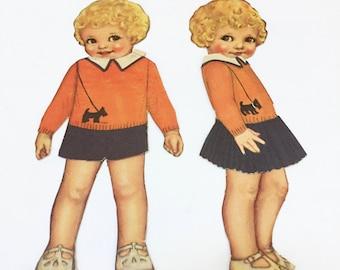 VINTAGE SCOTTIE DOG Sweater Paper Dolls  - Scotty Dog  - Black Scottish Terrier - Vintage Paper Dolls