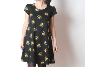 Black floral jersey dress, Short-sleeved dress in vintage jersey, MALAM