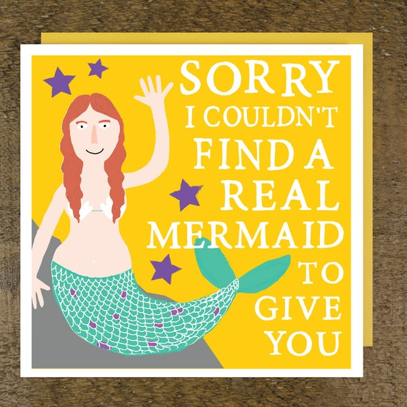 Mermaid birthday card funny birthday card birthday card like this item bookmarktalkfo Images