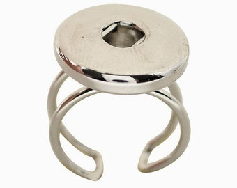 KB0548  Adjustable Silver Plated Ring for Snaps