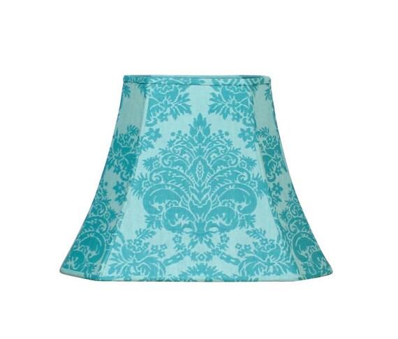 Aqua damask lampshade french home decor custom lamp shade aloadofball Image collections