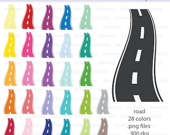 Road or Street Icon Digital Clipart in Rainbow Colors - Instant download PNG files