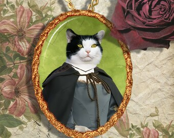 Tuxedo Cat Jewelry Pendant Necklace - Brooch Handcrafted Ceramic