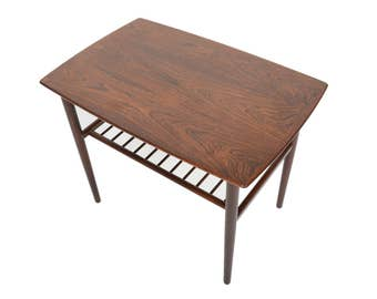 Danish Modern Mid Century Rosewood Side Table with Rack