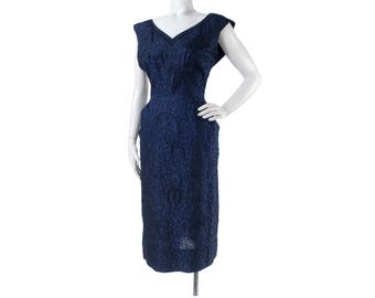 Vintage 50s Dress - 50s Party Dress - 50s Hourglass Dress - 50s Wiggle Dress - 50s Blue Dress - Soutache - Beading - Blue Party Dress - VLV
