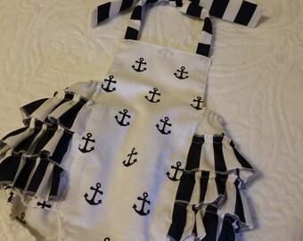 Baby Romper, Bubble Romper, Spring Romper, Baby Girl Romper, Nautical Romper, Summer Romper, Anchors