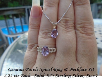 Genuine Purple Spinel Ring & Pendant on 20 Inch Sterling Silver Chain 4.50 cts