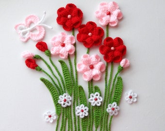 Crochet Applique - Flowers and Leaves Set - Flowers In The Meadows - Any Colour - Made to Order