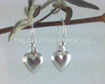 Small Silver Heart Earrings, Sterling Silver Heart Earrings, Dangly Silver Earrings