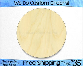 Circle Shape - Large & Small - Pick Size - Unfinished Wood Cutout Shapes DIY Ellipse Disk Tag Wall Art Blank Tag Hole  (SO-0001)*1-24
