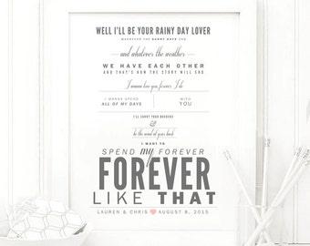 "Ben Rector ""Forever Like That"" - Valentine's, Wedding Gift, Paper Anniversary Gift, Song Lyrics, Art Print"