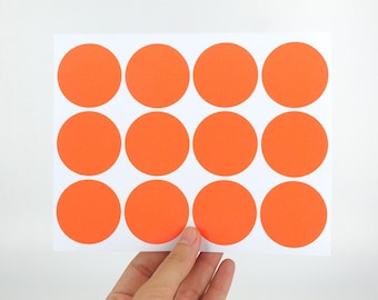 40mm Plain Orange Label Stickers - Large round peal and stick tags - Made of matte sticky paper - Great for DIY Halloween party bags