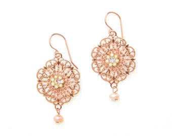 Rose Gold Earrings, Mother's Day Gift, Rose Gold Dangle Earrings, Gift for Mom, Thank You Gift, I Love You Gift, Vintage Style Earrings
