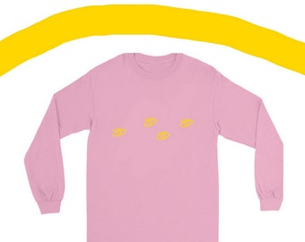 Pink Tee with Eye Print - Eye Print Graphic Tee in Pink - Pink and Yellow Illustrated Graphic Tee with Eye Design - aclothing0012