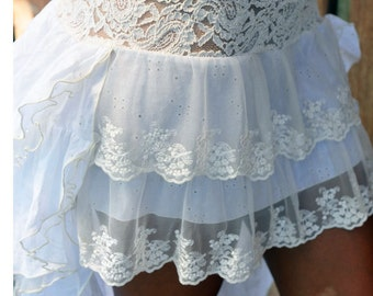 Cheeky cotton and lace Bustle Skirt in white and off white