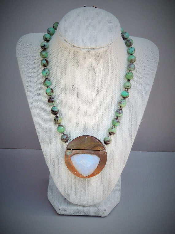 moonstone and chrysophase necklace