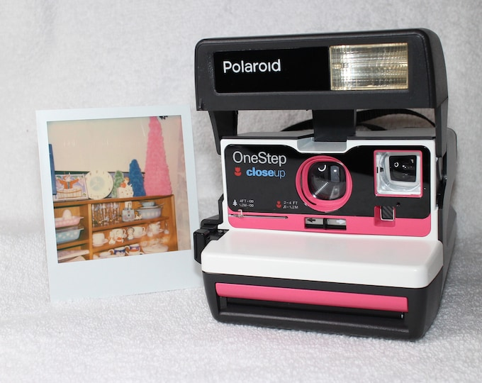 Upcycled Pink and White Polaroid 600 OneStep With Close Up And Flash Built-In - Ready To Use