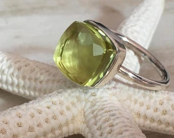 Ring PLETO - Lemon quartz