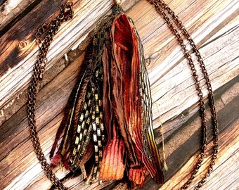 NEW Long Tassel Necklace | Red Statement Necklace | Unique Boho Necklace | Birthday Gift | Gift For Her | Silk Tassel Pendant | Bohemian