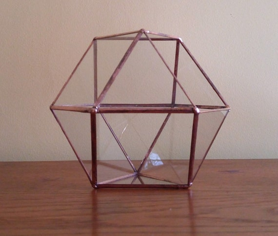 Make An Eye Catching Jewelry Stand From Plumber S Copper: Stained Glass Geometric Terrarium Copper Coffee Table Art Home