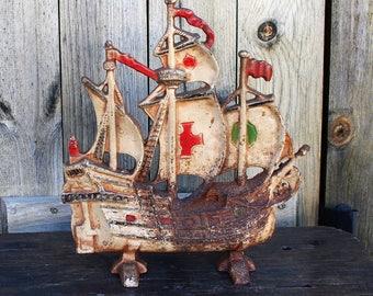 Vintage Cast Iron Schooner Doorstop, Pirate Doorstop