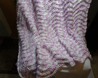 Lilac and White Baby Afghan