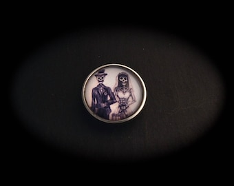 Cabochon pressure 18mm for jewelry-fantasy - Couple skeletons