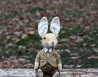 Artist Easter Rabbit Teddy Bear rabbit toys Bunny Rabbit  Soft sculpture toy  Stuffed  Easter bunny Plush toy Dressed Bunny Gift for her