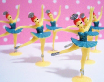 12 Mini Ballerina Cupcake Topper Black Hair Only