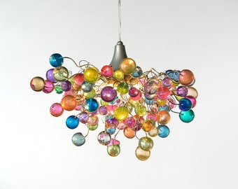 Lighting hanging chandeliers with Pastel bubbles for girls bedroom, living  room, bathroom designer lighting.