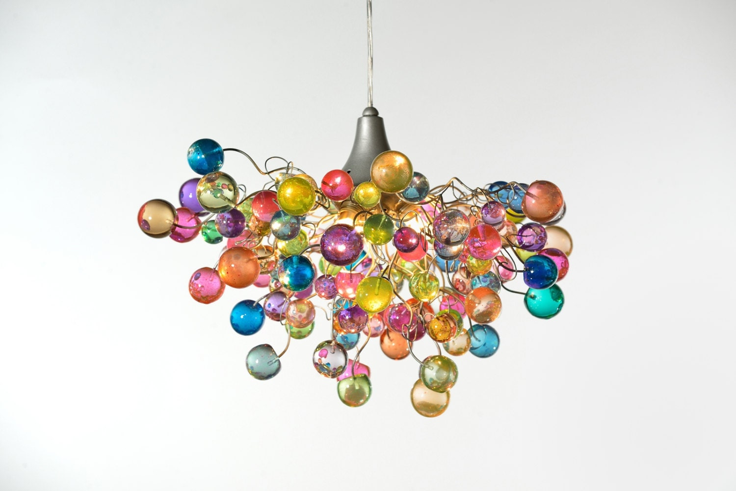 Lighting hanging chandeliers with Pastel bubbles for girls