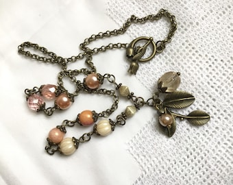 Vintage antiqued necklace cottage style brass necklace rustic brass jewelry