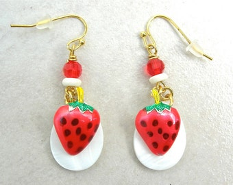 """SUMMER Strawberries 'n' Cream Earrings, from the """"Edible"""" Collection, by SandraDesigns"""