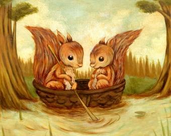 Children's Art - The Walnut Boat Ride Print 5x5 / 7x7 - Nursery Art, Squirrel, Woodland, Forest, Spring, Cute, Kids Art, Baby, Lake, Animals
