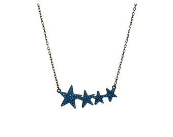 925 Sterling Silver Star Necklace,Pave Star Necklace,Turquoise Star Necklace,Turquoise Jewelry
