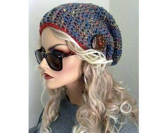 Tuque chapeau, chapeau féminin, bohème Chic, Boho chapeau, chapeau avec bouton, au crochet, chapeau coloré, bonnet, accessoires pour femmes