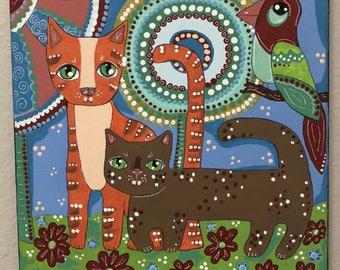 "SALE,Original Folk Art Painting,Cats,Bird,Whimsical,Acrylic Painting,Pet Art, Cat Art,Outsider,Home Decor,Wall Decor,10"" x 10"",Animal Art"