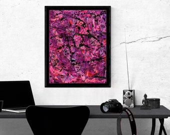 Pink and Black Paint Splatter Poster