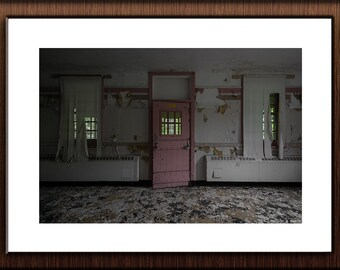 Abandoned Hospital Photography Print Fine Art Wall Art Gift - Creepy Pink Door & Window Still Life - Urbex Urban Exploration