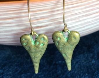 Artisan Jewelry Brass  Hearts on Hooks