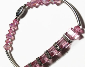 Swarovski Pink Crystal Hope Bracelet, Breast Cancer Awareness Bangle, Pink Cube Crystal Bracelet, Sterling Bangle